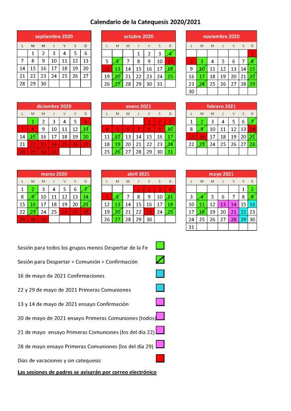 calendario catequesis 2020 2021